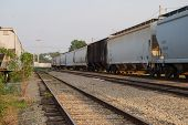 stock photo of railcar  - Railcars that haul grain and fertilizer - JPG