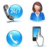 Customer service support - phone, call-center, mobile icons