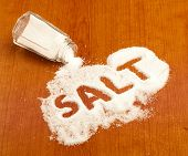 stock photo of crystal salt  - salt shaker - JPG