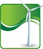 stock photo of wind-turbine  - windmill on green wave background - JPG