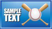 Постер, плакат: бейсбол и скрещенные летучие мыши на синий полутоновых баннер