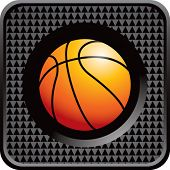 basketball on glossy diamond web button