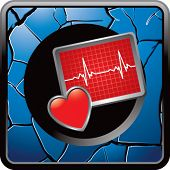 stock photo of blue-screen-of-death  - heart beat monitor on blue cracked icon - JPG