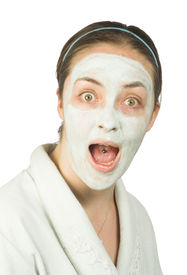 picture of face mask  - suprised woman with face mask - JPG
