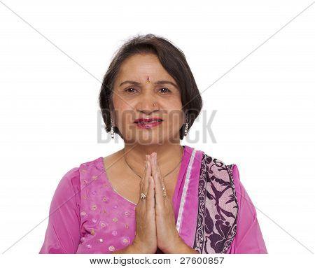 Mature Indian Woman Namaste Greeting | Stock photo