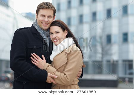 Portrait of a happy smiling couple on city trip