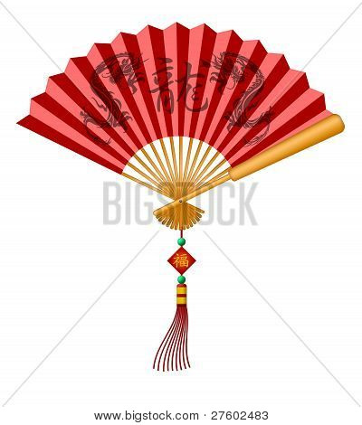 Chinese Fan With Dragons And Happiness Calligraphy Text