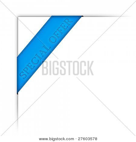 An image of a modern blue web ribbon special offer
