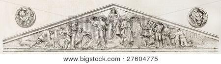Pediment and medallons of Notre-Dame de Bon-Port basilica, Nantes, France. Created by Marc after sculpture of Menard, published on L'Illustration, Journal Universel, Paris, 1858