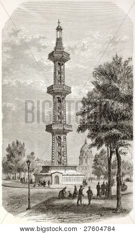 Three floors tower overlying Grenelle artesian well, Paris (demolished in 1903 and replaced by Pasteur statue). Created by Guesdon, published on L'Illustration, Journal Universel, Paris, 1858
