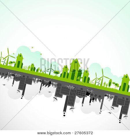 ilustração da paisagem urbana, mostrando a sustentabilidade da terra