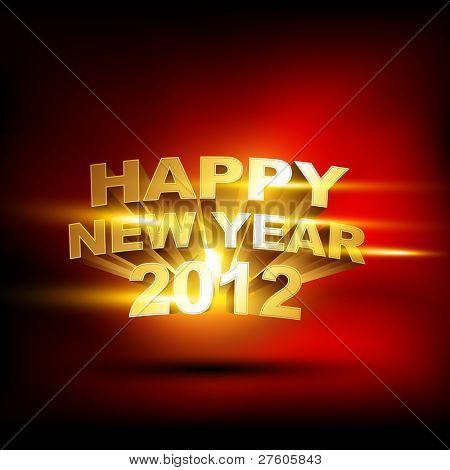 beautiful golden happy new year 2012 vector background