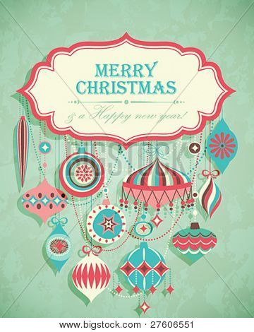 Funny Christmas postcard with place for text. Vector illustration.