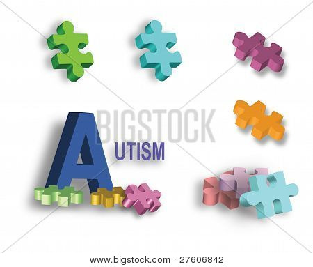 Full Page Of Colorful Autism Puzzle Pieces And Individual Piece
