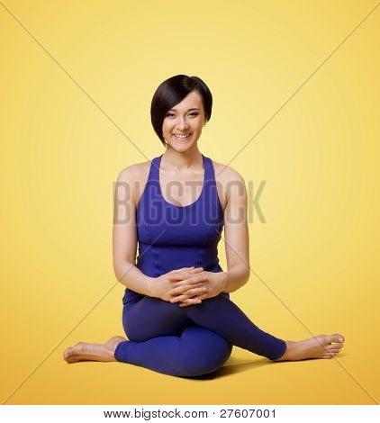 woman exercise yoga arm balance and smile