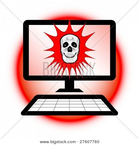 Computer security concept. Skull warning alert on computer screen.
