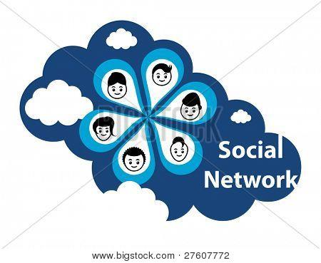 """Conceito de computação em nuvem. Redes sociais através da """"nuvem"""" ou na internet."""