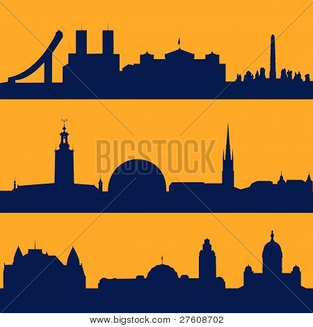 Seamless patterns of  Scandinavian capitals