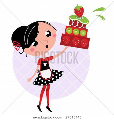 Retro Kitchen Girl With Big Fruity Cake Isolated On White
