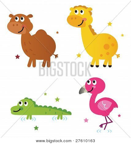 Cute Safari Africa Animals Set Isolated On White