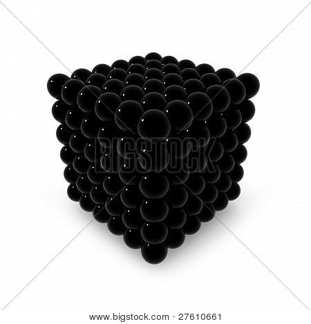 Black neocube isolated on white