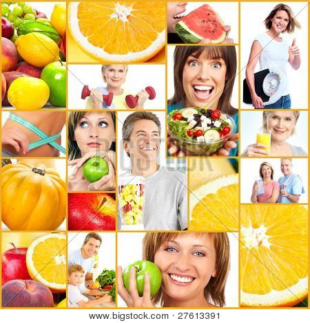 Healthy lifestyle collage. People, diet, healthy nutrition, fruits, fitness