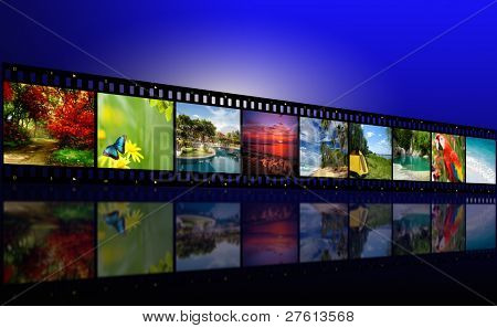 A film reel has different nature photo images on it and there is a glowing black background. Use it for a media technology concept.