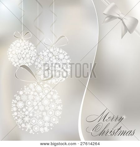Abstract christmas balls made of white snowflakes. Raster copy of vector illustration