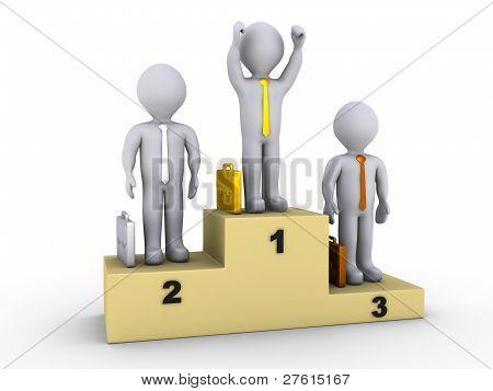 Businessmen On Winners Podium