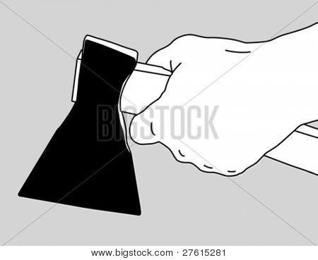 axe in hand on white background, vector illustration