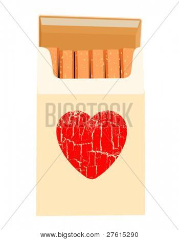 cigarettes pack on white background, vector illustration