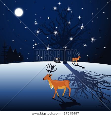 Full moon night background with Reindeer and Santa sleigh and shiny stars for Christmas and other occasions.