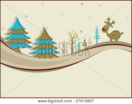 Christmas ornaments like Christmas trees & Rudolph with space for text for Christmas & other occasions.