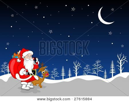 Snowy Christmas moon night background with Santa Claus having bag with full of gift boxes and Rudolph for Christmas & other occasions.