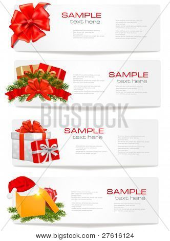 Set of winter christmas banners. Vector illustration.