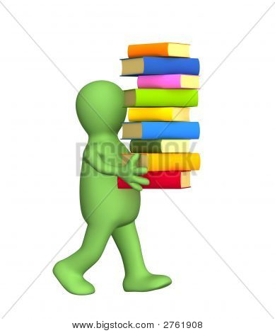 3D Person - Puppet, Carrying A Pile Of Books