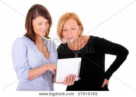 A picture of a mother and daughter working together on a tablet over white background