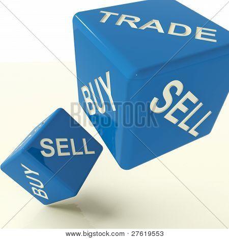 kaufen Sie Handel und verkaufen Sie Würfel, die Wirtschaft und Handel