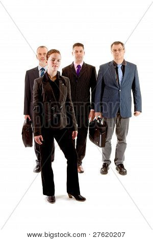 Four Business People, One Young Woman And Three Older Men