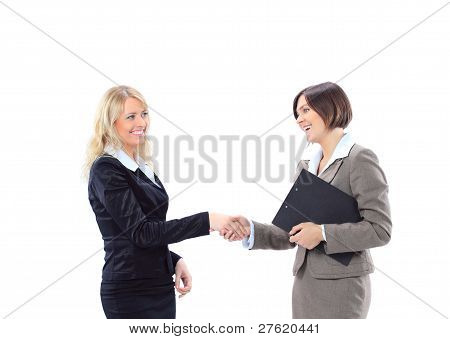 Happy business woman shaking hands greeting her colleague