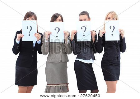 Group of unidentifiable business women isolated