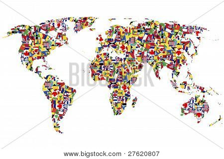 World Map Made Of Flags