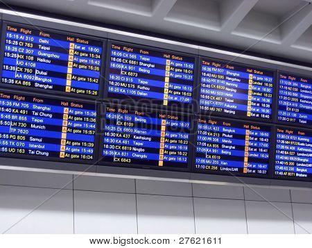 Hong kong airport, arrival board