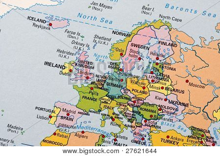 Photo of a map of Europe.
