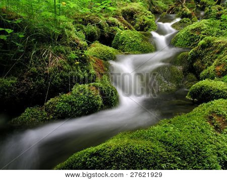 Flowing water of mountain stream