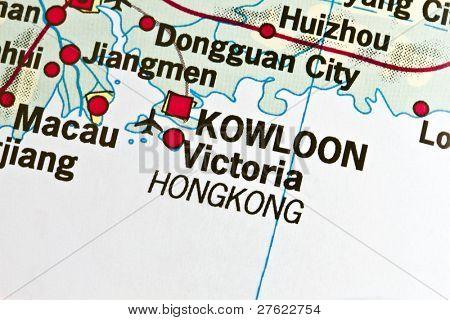 Kowloon ,Hong Kong on a map