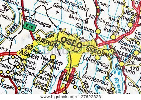 Oslo on a map closeup