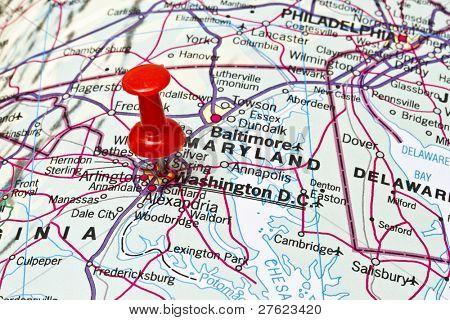Washington DC on a map closeup