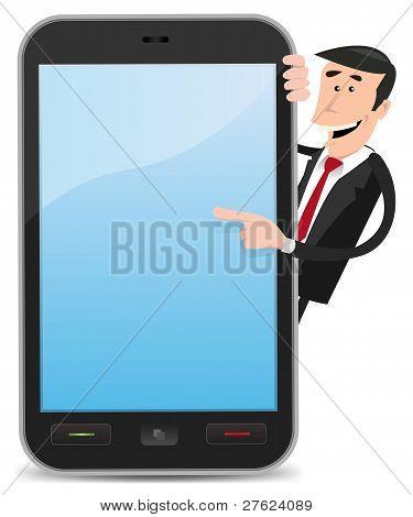 Historieta hombre señalando Smartphone