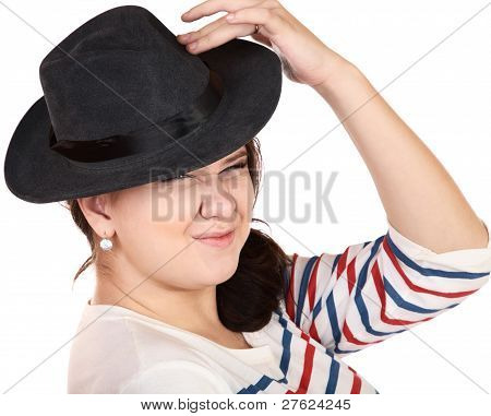 The Punch Girl In A Hat Discontentedly Wrinkles A Nose